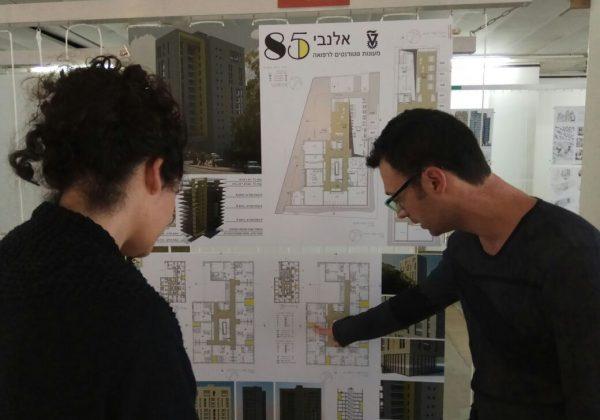 תערוכת עבודות עולות לשלב שני  – בתחרות מעונות סטודנטים לרפואה – טכניון חיפה .